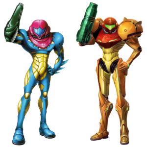 I can't tell you how happy I was to find two pictures of Samus in striking the same pose in different suits.